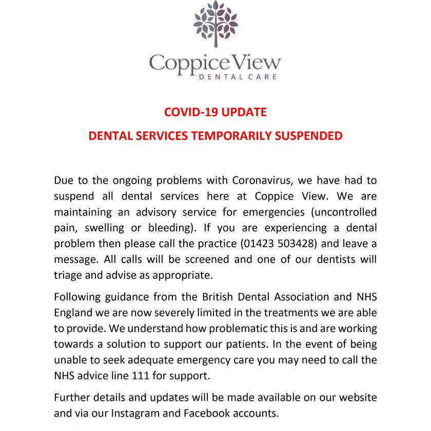 COVID-19 POP-up banner harrogate coppice view dental care